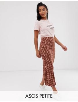 Asos Design Petite   Halflange Jersey Slipskirt Met Stippenprint by Asos Design