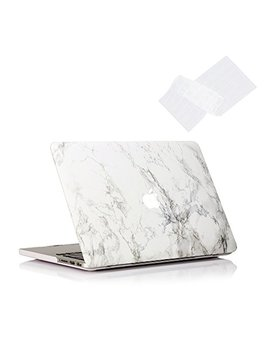 Ruban Plastic Hard Case And Keyboard Cover For Mac Book Pro 13 Inch With Retina (No Usb C)(A1502/A1425), Released 2015/2014/2013/2012 (No Cd Rom)   White Marble by Ruban
