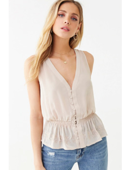 Chiffon Floral Trim Top by Forever 21