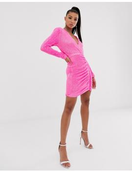 Lavish Alice Pleated Sequin Mini Dress In Neon Pink by Lavish Alice