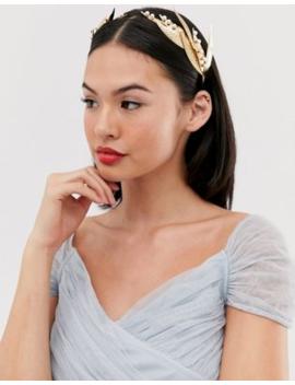 Asos Design Hair Crown In Pearl Studded Metal Leaf Design In Gold Tone by Asos Design