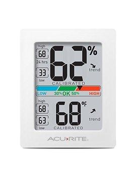Acu Rite 01083 Indoor Thermometer & Hygrometer With Humidity Gauge & Pro Accuracy Calibration, White by Acu Rite