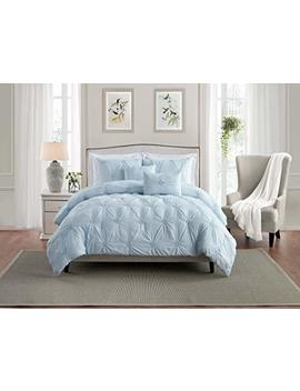 Swift Home Premium Bedding Set Collection 3 Piece Floral Ruched Pinch Pleat Pintuck Comforter Set   Full/Queen, Baby Blue by Swift Home