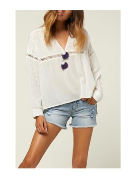Seaside Long Sleeve Crochet Trim Top by O'neill