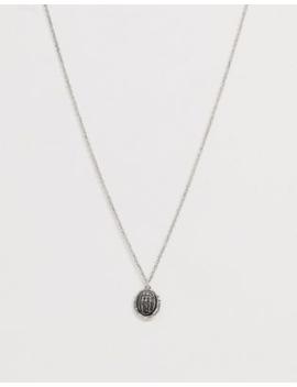 Asos Design Vintage Inspired Pendant Necklace In Burnished Silver by Asos Design