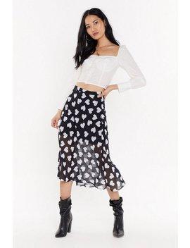 Caught The Feels Heart Print Midi Skirt by Nasty Gal