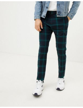 Weekday Tailored Trousers In Green Check by Weekday
