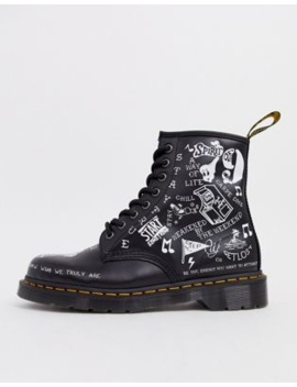 Dr Martens 1460 Scribble 8 Eye Boots In Black by Dr Martens