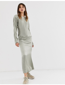 Weekday Limited Edition Long Sleeve Top With Satin In Olive Green by Weekday
