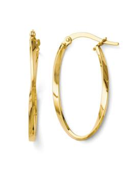 Italian 14k Gold Twisted Oval Hoop Earrings by Generic