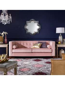 Beverly Pink Velvet Sofa Or Loveseat With Pillows By I Nspire Q Bold by I Nspire Q Bold