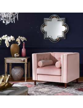 Beverly Pink Velvet Arm Chair With Pillows By I Nspire Q Bold by I Nspire Q Bold