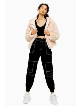 Black Belted Stitch Utility Trousers by Topshop