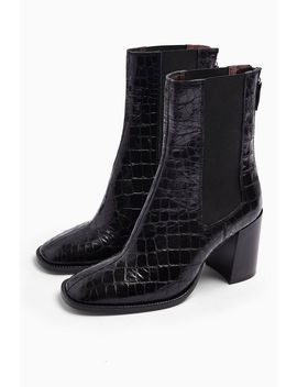 Huntington Black Crocodile Boots by Topshop