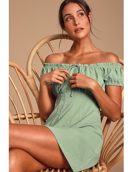 Wisteria Sage Green Embroidered Off The Shoulder Mini Dress by Lulus