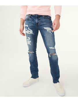 Slim Straight Medium Wash Destroyed Stretch Jean by Aeropostale