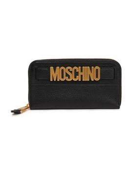 Embellished Textured Leather Wallet by Moschino