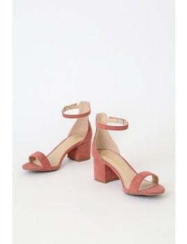 Harper Rusty Rose Suede Ankle Strap Heels by Lulus