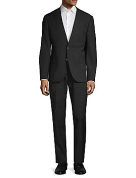 Slim Fit Wool Blend Plaid Suit by Karl Lagerfeld