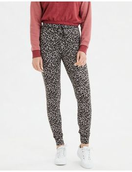 Ae High Rise Plush Leopard Legging by American Eagle Outfitters
