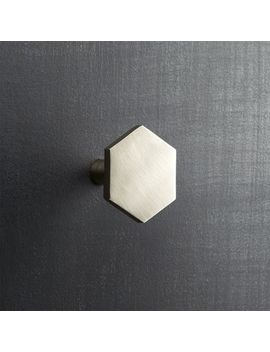 hex-brushed-nickel-knob by crate&barrel