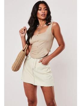 camel-linen-look-corset-top by missguided
