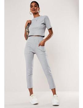 grey-co-ord-ribbed-pocket-detail-leggings by missguided