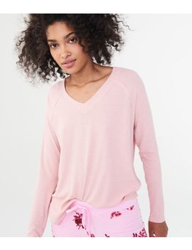 Lld Long Sleeve Solid Rib Knit V Neck Tee by Aeropostale