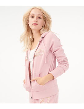 Sequin Logo Full Zip Hoodie by Aeropostale
