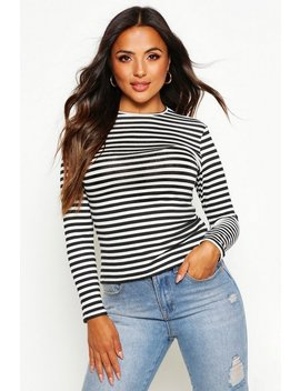 petite-basic-crew-neck-stripe-long-sleeve-t-shirt by boohoo