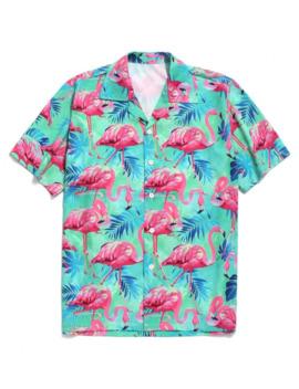 hot-saletropical-leaves-flamingo-print-beach-shirt---multi-a-m by zaful