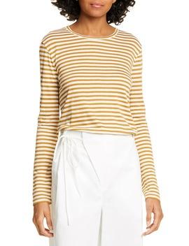 stripe-long-sleeve-silk-blend-tee by vince