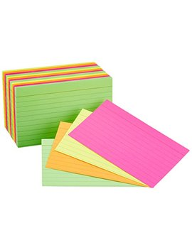 Amazon Basics Ruled Index Flash Cards, Assorted Neon Colored, 3x5 Inch, 300 Count by Amazon Basics