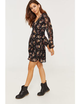 floral-chiffon-button-front-dress by ardene
