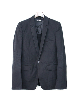 raf-simons-rough-simmons-09ss-ノッチドラペル-1b-cotton-jacket-black-46-men by rakuten-global-market