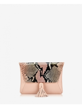 Aveline Clutch by Rose Wash Embossed Python