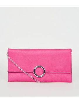 bright-pink-neon-suedette-ring-front-clutch by new-look