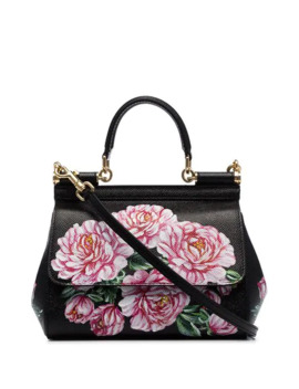 black-dauphine-tracolla-floral-print-leather-shoulder-bag by dolce-&-gabbana