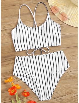 striped-criss-cross-top-with-high-waist-bikini by romwe