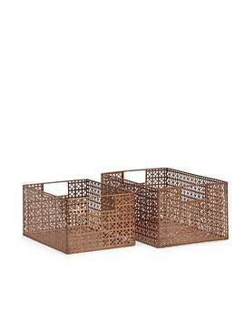 set-of-2-metal-copper-effect-storage-baskets by dunelm