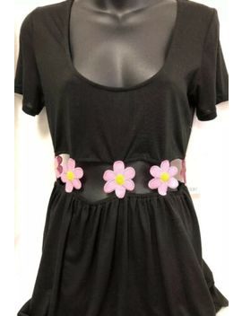 tobi-black-pink-open-waist-flower-dress-medium-m-nwt-women's by tobi