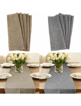 burlap-table-runners-imitated-linen-dining-farmhouse-runner-wedding-bridal-decor by ourwarm