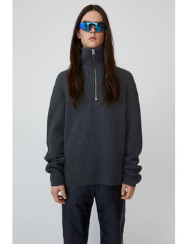 Zip Up Wool Sweater Dark Grey Melange by Acne Studios