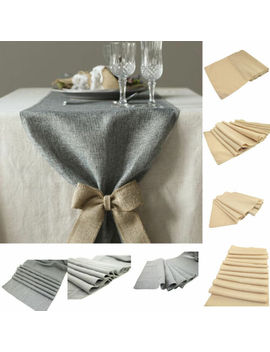 3-size-2-color-retro-linen-burlap-jute-table-runner-wedding-event-table by unbranded
