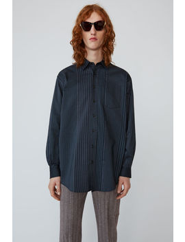 Oversized Striped Shirt Navy/Grey by Acne Studios