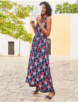 Delphine Jersey Maxi Dress   Navy Tropical Pineapple by Boden