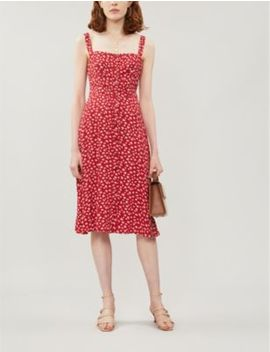 persimmon-floral-pattern-crepe-midi-dress by reformation