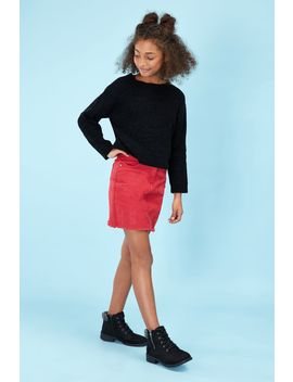 red-girls-denim-mini-skirt by select