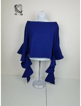 gracia-women-top-blue-off-the-shoulder-ruffle-sleeve-small-medium-large-nwt-p512 by gracia