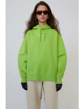 Logo Hooded Sweatshirt Neon Yellow by Acne Studios